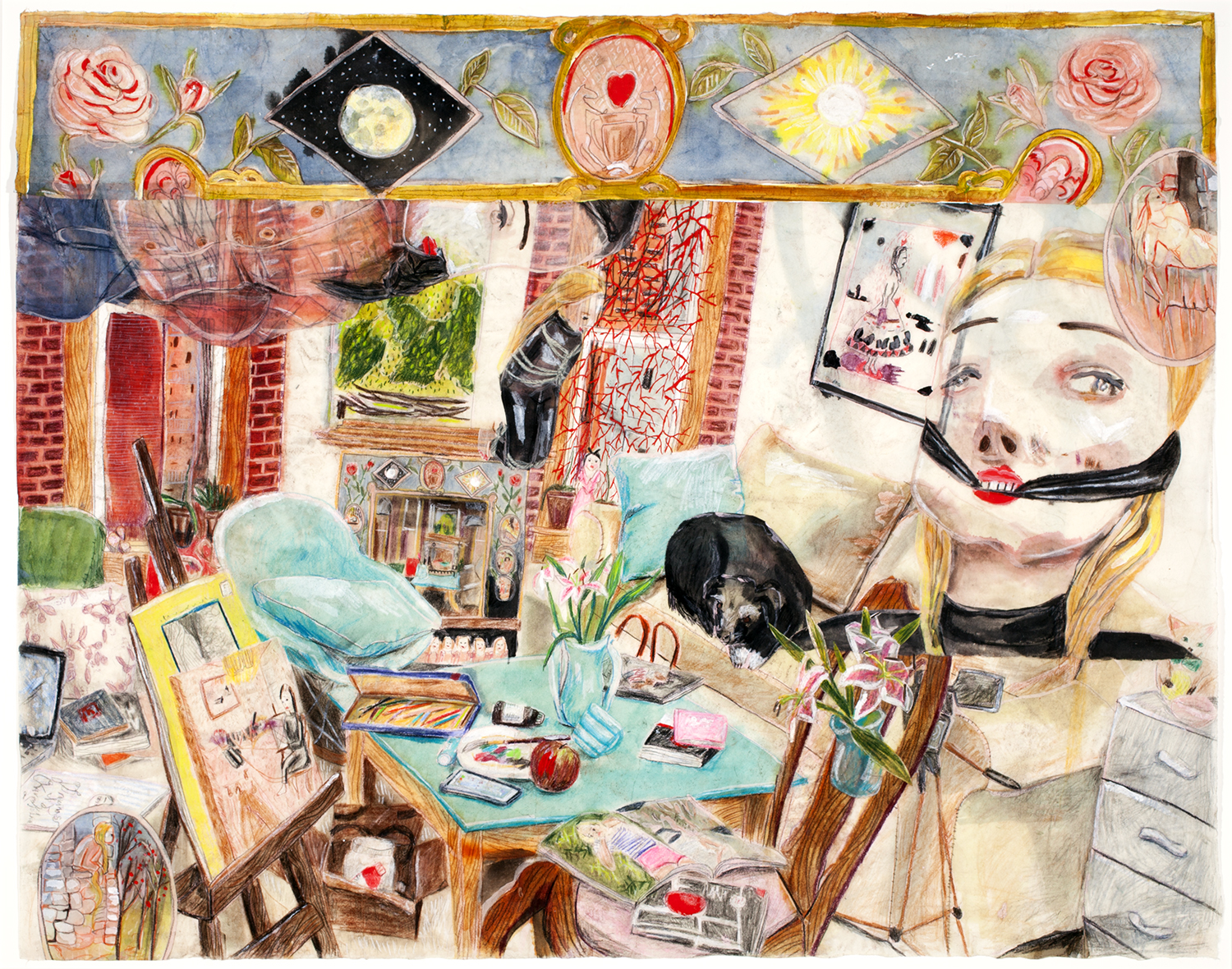 The Apartment, 2015, Acrylic, colored pencil, wax, rice paper, 31 x 38 inches